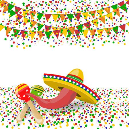 Cinco de Mayo。红辣椒,maracas,soombreros。五彩纸屑和节日旗帜。插图