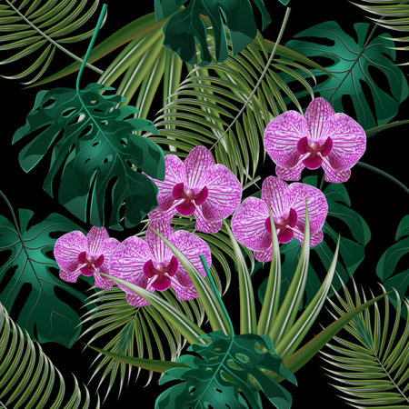 textiles: Jungle. Green tropical leaf, orchid flowers and palm leaves. Seamless floral pattern. Isolated on black background. illustration