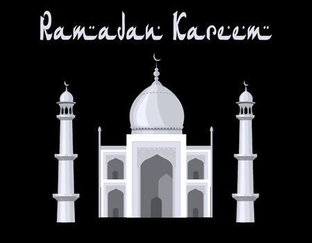 mohammad: The mosque is painted in the style of the Taj Mahal temple. Ramadan Kareem. Black and white graphics with halftones. illustration