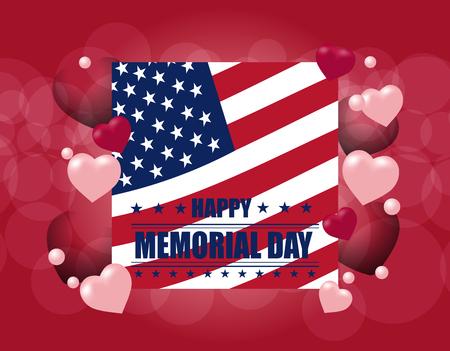 Tarjeta Happy Memory Day. Ilustración en honor de la fiesta nacional de Estados Unidos con la bandera de Estados Unidos. Cartel festivo, banner o postal. ilustración
