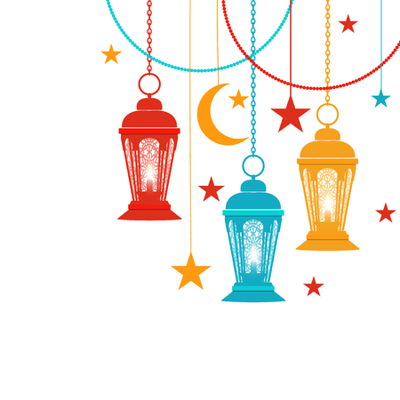 Ramadan Kareem. Trans-colored lanterns in oriental style hang on chains, asterisks, a crescent moon. Isolated on white background. illustration