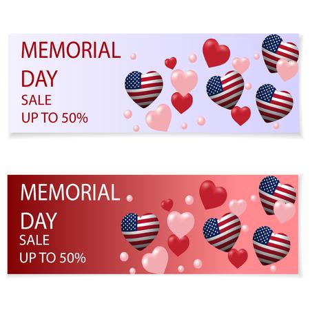 Día Conmemorativo. Ilustración en honor a la festividad nacional de EE. UU. Con un corazón en el estilo de la bandera de EE. Folletos de vacaciones, invitaciones o postales. El mensaje sobre el descuento, venta. Ilustración vectorial