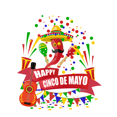 Cinco de Mayo. An inscription with a desire for happiness on the tape. Sombrero, guitar, confetti , flags, maracas and red peppers, crackers. illustration