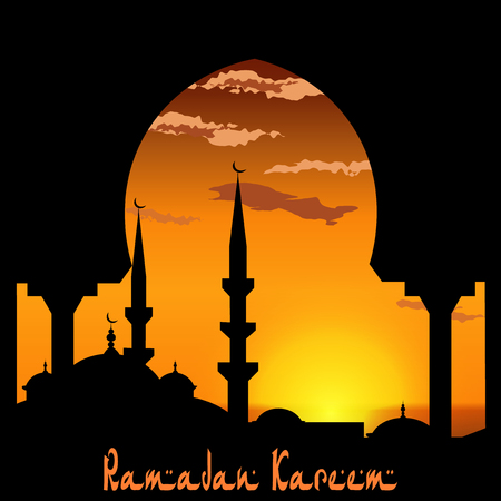 Ramadan Kareem. View from the arch on the blue mosque. Sunset or sunrise. Bird, the clouds. illustration Stock Photo