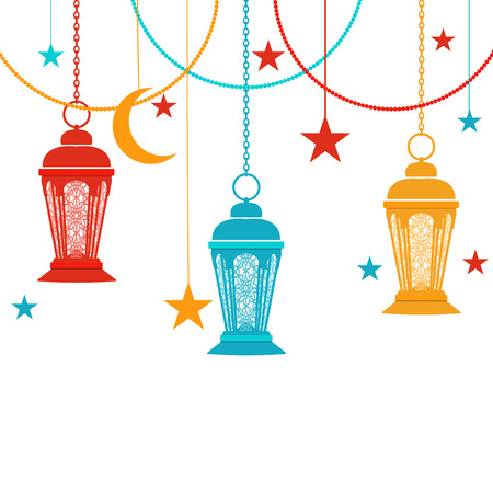 Ramadan Kareem. Colorful lights in the oriental style. Asterisks, a crescent. Isolated on white background. illustration