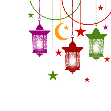 Ramadan Kareem. Colorful lanterns in oriental style on chains. With burning candles. Asterisks, crescent. Isolated on white background. illustration