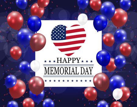 Feliz día de la memoria. Ilustración en honor del día de fiesta nacional los EEUU con un corazón en el estilo de la bandera americana y de los globos. Postal festiva. ilustración