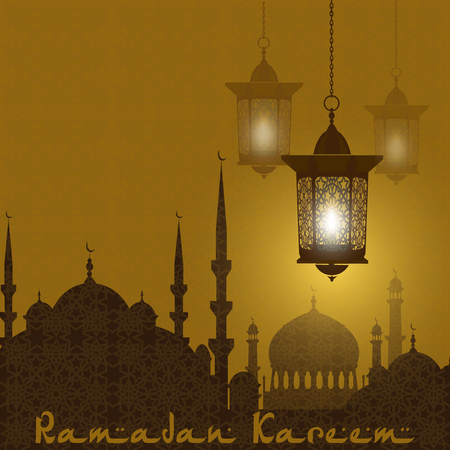 Ramadan Kareem. Stylized drawing of the silhouette of the eastern city. Lanterns on a background of an ornament. illustration