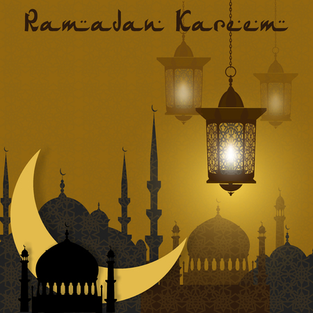 Ramadan Kareem. Greeting card. Stylized drawing of the month and the silhouette of the eastern city. Lanterns on a background of an ornament. illustration
