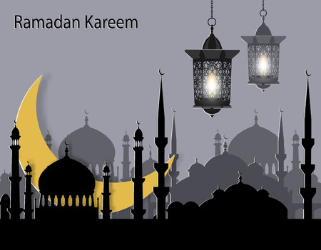 Ramadan Kareem. Greeting card. Stylized drawing of the month and the silhouette of the eastern city. Flashlights. Cut from paper. illustration Stock Photo