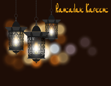 Ramadan Kareem. Greeting card. Lanterns in oriental style. Isolated on a background of colored lights. illustration Stock Photo