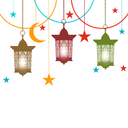 Ramadan Kareem. Colorful lanterns in oriental style on chains. Asterisks, crescent. Isolated on white background. illustration