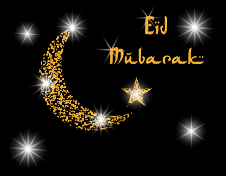 Crescent with the stars. Inscription Eid Mubarak. Postcard in honor of Ramadan. Vector illustration Illustration