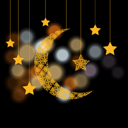 Ramadan. Crescent with the stars. Background of color glare. Vector illustration