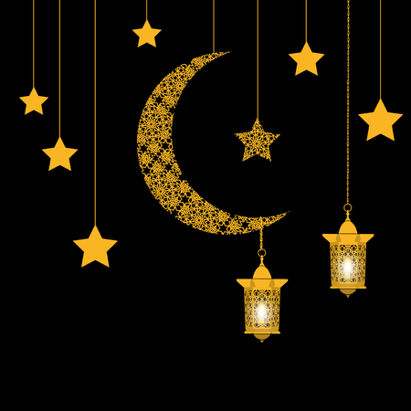 Ramadan. Card. Crescent with stars and lanterns. Eastern ornament. Vector illustration