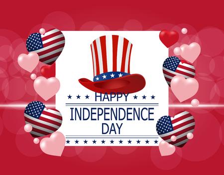 Feliz día de la independencia. Una tarjeta de felicitación. Ilustración en honor de la fiesta nacional de los Estados Unidos. Sombrero y corazones en el estilo de la bandera estadounidense. ilustración