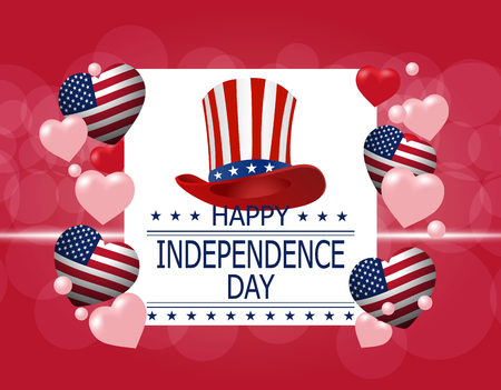 Happy Independence Day. A greeting card. Illustration in honor of the national holiday of the USA. Hat and hearts in the style of the American flag. illustration Illustration