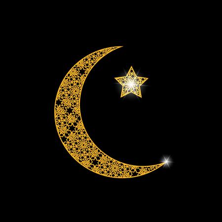 Ramadan. Card. Crescent with a star. Oriental ornament. Vector illustration