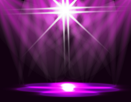 cinematograph: Lighting of the ice rink, catwalk, stage lights. Abstraction. Purple background. Vector illustration