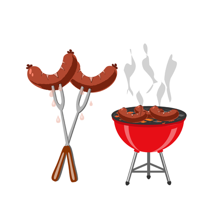 Barbecue and grilled dishes, sausages, hot dog. Snack to beer at the festival. illustration