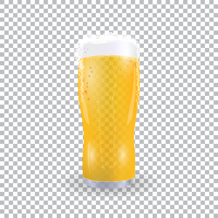 Festival of beer. Light beer in a glass with foam on a checker background. illustration Illustration