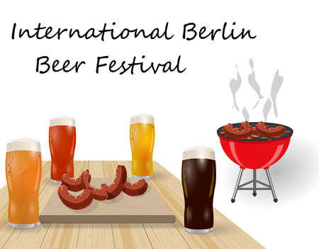 Festival of beer. Different types of beer in glasses. Barbecue and grilled dishes, sausages, hot dog, illustration.