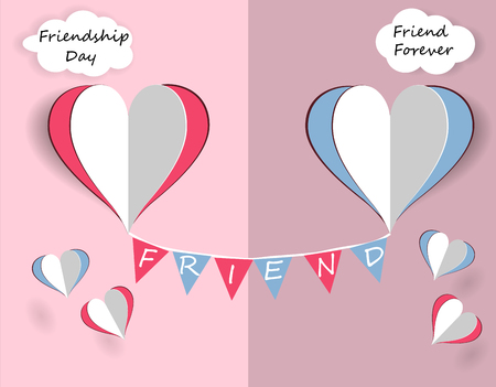 Childrens card for friendship day. Hearts of friends are flying. illustration