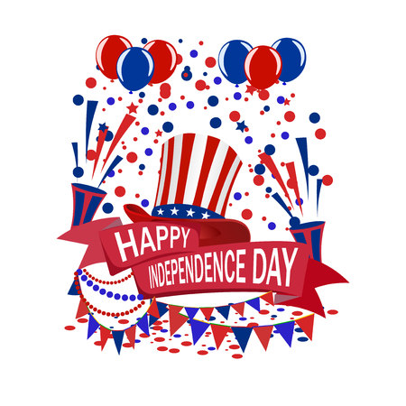 americas: Americas Independence Day. A ribbon with the inscription of a happy day of independence. Claps, hat, balloons. illustrations Illustration