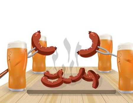 salmon steak: Festival of beer. Light beer in glasses. Grilled dishes, sausages, hot dog. illustration