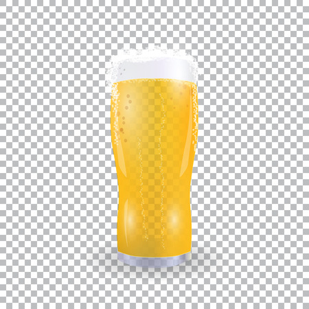 Festival of beer. Light beer in a glass with foam on a checker background. illustration Stock Photo