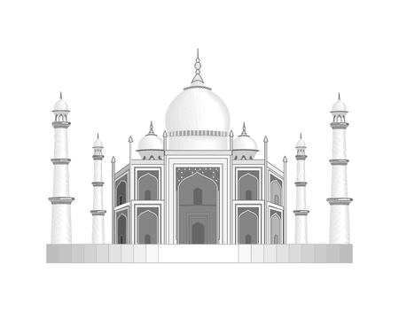 agra: The Taj Mahal temple in India. Stylized as a pencil drawing. illustration