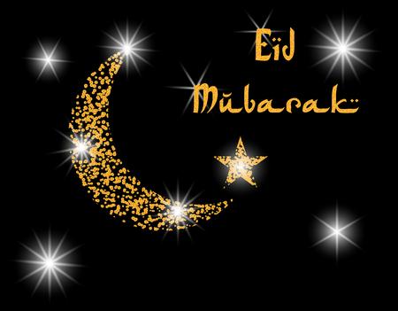 Crescent with the stars. Inscription Eid Mubarak. Postcard in honor of Ramadan. illustration
