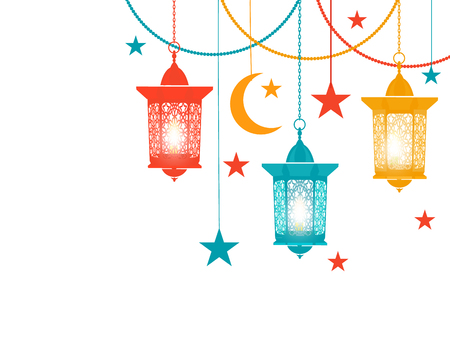 Ramadan Kareem. Colored lanterns in the oriental style hang on chains, asterisks, a crescent moon. Isolated on white background. illustration