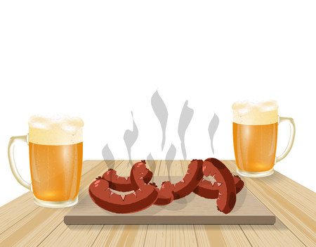 dinner party: Festival of beer. Light beer in mugs. Fried dishes, sausages, hot dogs on wooden boards. illustration