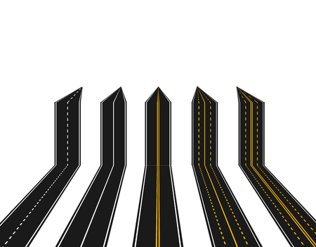 Set of roads with white and yellow marking in perspective in the form of arrows on a white background. Abstract. illustration