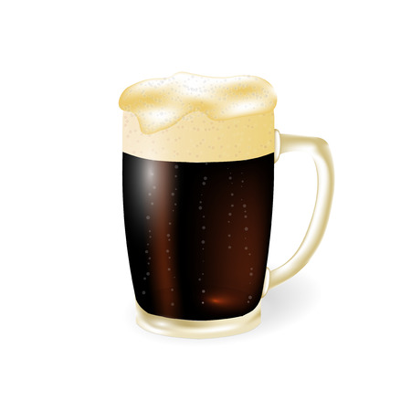 Festival of beer. Dark beer in a mug with foam isolated on white background. illustration