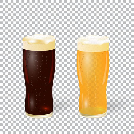 adverts: Festival of beer. Dark and light beer in a glass with foam isolated on a checker background with a shadow. illustration