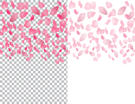 japanese garden: Flying translucent petals of sakura flowers. On a checkered and white background. illustration Illustration