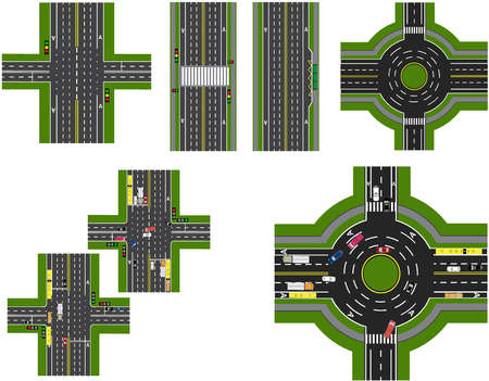 animate: Set of abstract road junction. Crossroads of various roads. Roundabout Circulation. Transport.  illustration