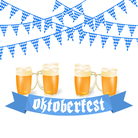 Oktoberfest banners in Bavarian color. Feast of Bavaria white and blue ribbon Oktoberfest. illustration Ilustração