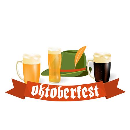 Oktoberfest-Banner in bayerischer Farbe. Helles und dunkles Bier, Hut. Bayernfest mit einem roten Band Oktoberfest. Vektor-Illustration Standard-Bild - 83871513