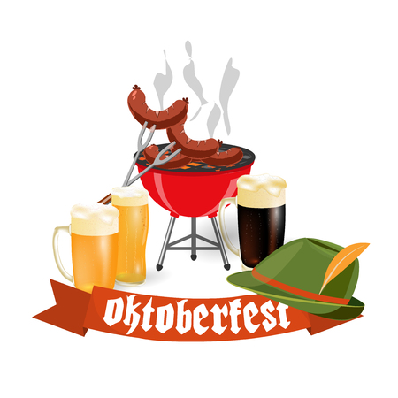Oktoberfest banners in Bavarian color. Light and dark beer, sausages, brazier, hat. Feast of Bavaria with a red ribbon Oktoberfest. illustration Illustration