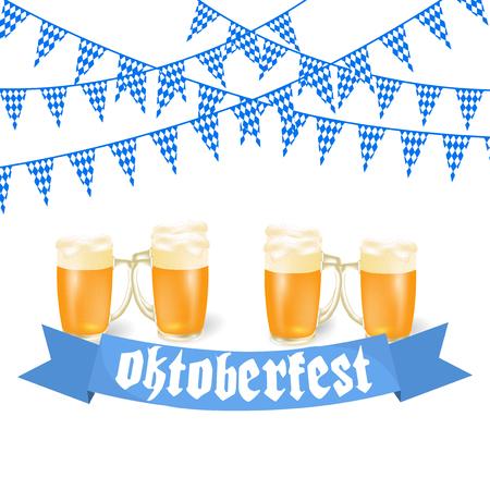 Oktoberfest banners in Bavarian color. Feast of Bavaria white and blue ribbon Oktoberfest. illustration Stock Photo