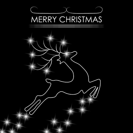Christmas card. Abstract silhouette of a deer. illustration Stock Photo