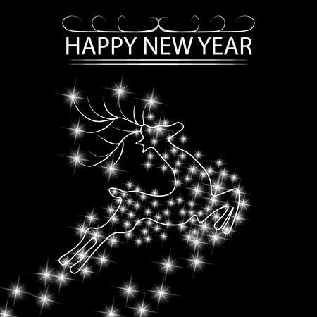 New Year s, Christmas card. abstract silhouette of a deer among the stars. illustration