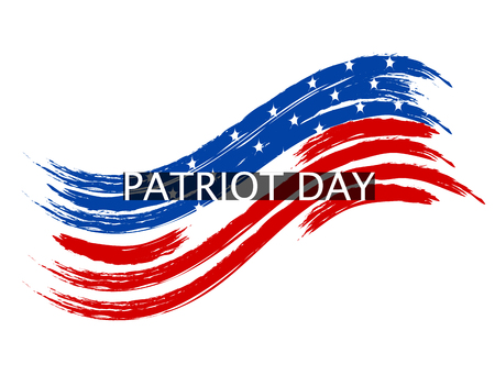 Patriot Day wave in colors of the national flag on a white background. Inscription. illustration Stock Photo