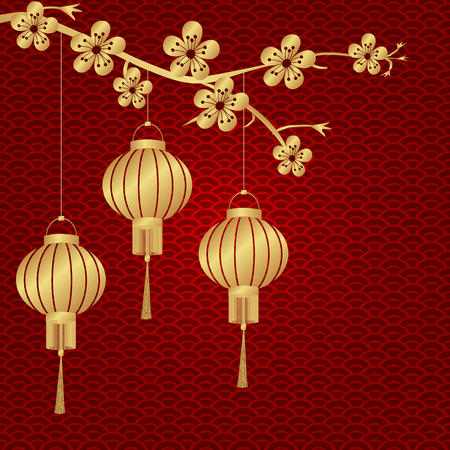 tissue paper art: Chinese New Year. Stylized under bronze of Chinese lanterns on a cherry twig. Round. illustration Stock Photo