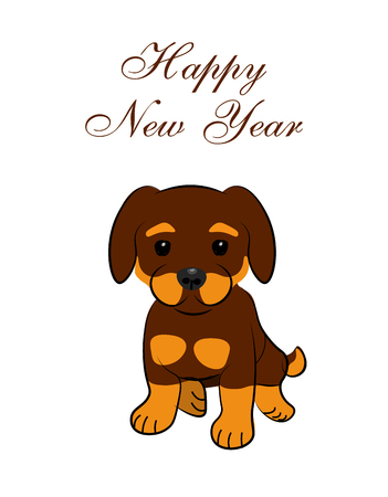 New Year card. 2018 year of the dog. Sitting animated puppy. illustration Stock Photo