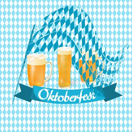 pretzel: Oktoberfest banners in Bavarian color. Flag, light beer in different glasses. background Oktoberfest. Vector illustration Illustration