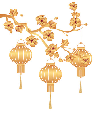 Chinese New Year. Stylized gold for Chinese lanterns on a cherry branch. Vector illustration Vettoriali